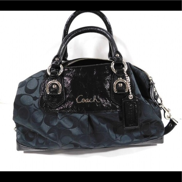Coach Bags   Ashley Signature C Black Satin Satchel   Poshmark aedc79fd4b